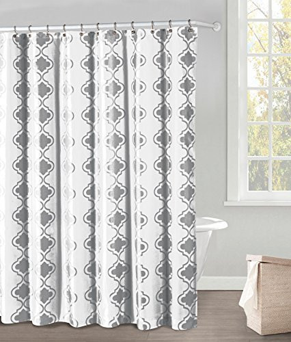White Fabric Shower Curtain Gray Moroccan Tile Design 70 X 72