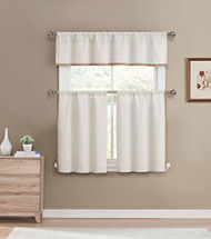 Linen Color 3 Piece Window Curtain Set: Accent border, Linen Blend, Burlap Look, 1 Valance, 2 Tiers