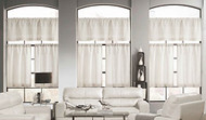 Linen Color 3 Piece Window Curtain Set: Linen Blend, Burlap Look, 1 Valance, 2 Tiers