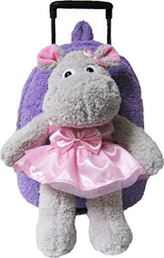 2-in-1 Kids Plush Rolling Suitcase/Backpack with Stuffed Animal - Gray Hippo with Purple Bag