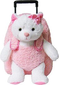 2-in-1 Kids Plush Rolling Suitcase/Backpack with Stuffed Animal - White Kitten with Pink Bag