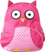 Pink Owl Backpack: Adjustable Straps, Top Handle, Mesh side pockets