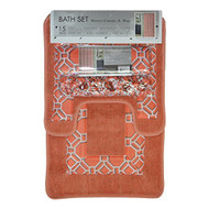 4 Pc Coral and Gray Bath Set: Shower Curtain, 2 Bath Mats/Rugs, 12 Piece Matching Fabric Hooks, Geometric Design