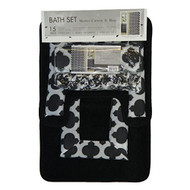 4 Pc Black and Gray Bath Set: Shower Curtain, 2 Bath Mats/Rugs, 12 Piece Matching Fabric Hooks, Trellis Design