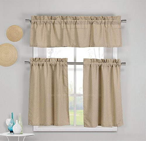Linen Colored 3 Piece Faux Cotton Kitchen Window Curtain Panel Set with 1  Valance and 2 Tier Panel Curtains