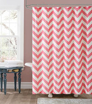 Pink and Off-White Embossed Fabric Shower Curtain: Chevron Zig Zag Design