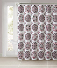 """Dobby Fabric Shower Curtain: Moroccan Medallion Design, 72"""" x 72"""" (Burgundy and Chocolate)"""