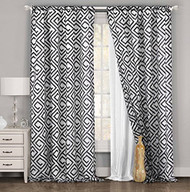 """One Piece (1) White and Black Window Curtain Panel: Geometric Design, Double Layer, 54""""W x 84""""L (White and Black)"""