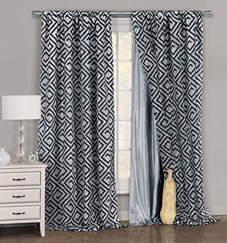 One Piece 1 Gray And Black Window Curtain Panel Geometric Design