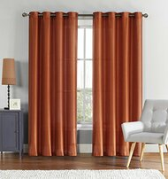 "Single (1) Cinnamon Window Curtain Panel: Faux Silk, Silver Grommets, 55"" x 90"""
