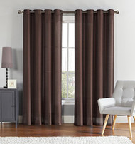 "Single (1) Chocolate Window Curtain Panel: Faux Silk, Silver Grommets, 55"" x 90"""