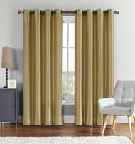 "Single (1) Gold Window Curtain Panel: Faux Silk, Silver Grommets, 55"" x 90"""