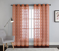 Cinnamon Spice Embroidered Sheer Window Curtain Panel : Grommets, Trellis Design