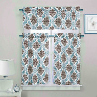 3 Piece Sheer Window Curtain Set: Medallion Design, 2 Tiers, 1 Valance (Chocolate, White and Blue)