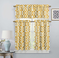 Gold 3 Piece Window Curtain Set: Imperial Trellis Design, 2 Tiers, 1 Valance