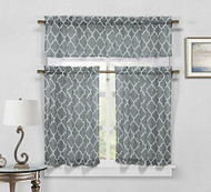 Gray 3-Piece Sheer Window Curtain Set: Trellis Design, 2 Tiers, 1 Valance