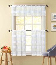Pure White Sheer 3 Piece Window Curtain Set: Stripe Design, 2 Cafe Tiers, 1 Valance