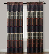 "Two (2) Chocolate, Burgundy and Taupe Window Curtain Panels: Faux Silk, Wide Stripe Design, 80"" x 84"""