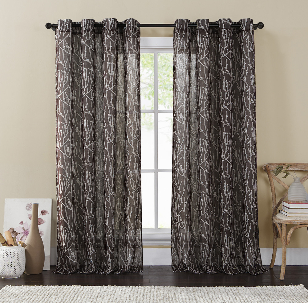 Single 1 Chocolate And Taupe Window Curtain Panels Wide