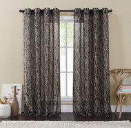 "Single (1) Chocolate and Taupe Window Curtain Panels: Wide 54"" x 84"", Sheer, Silver Grommets, Branch Design"