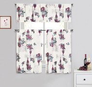 Cotton Blend 3 Piece Kitchen/Cafe Tier Window Curtain Set: Grapes and Wine Design