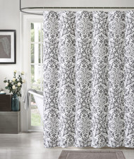 100 Cotton Silver And White Fabric Shower Curtain Medallion Design