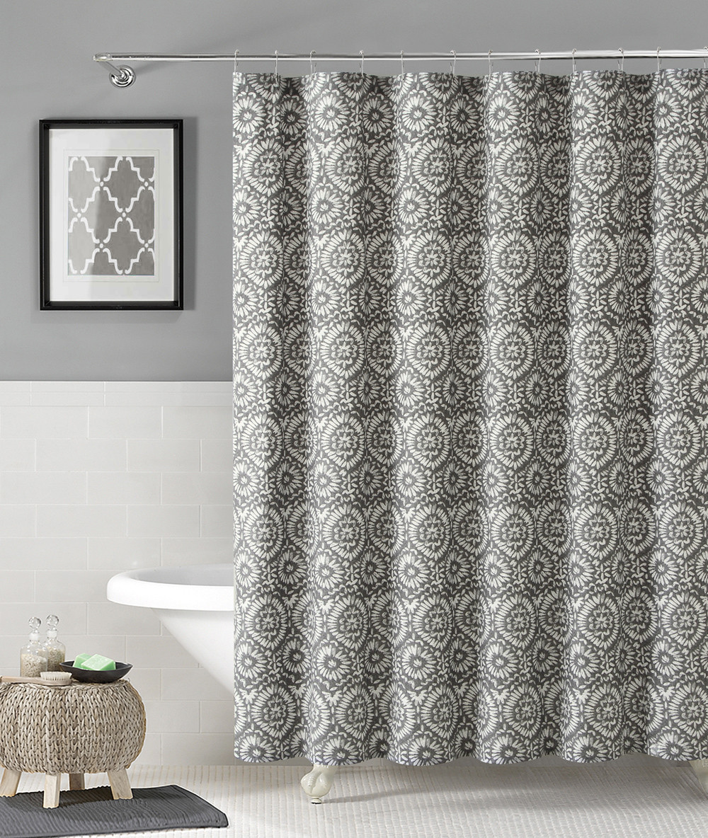 100 Cotton Fabric Shower Curtain Silver And White Floral Medallion Design 72 X 72
