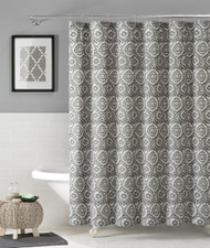 "100% Cotton Fabric Shower Curtain: Silver and White Floral Medallion Design, 72"" x 72"""