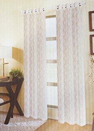 "Set of (2) Taupe and Ivory Textured Sheer Window Curtain Panels: Moroccan Trellis Design, Metal Grommets, 76"" W x 84"""