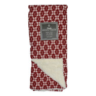 "Cranberry and White Reversible Sherpa Plush Fleece Throw Blanket: Floral Geometric Design, Soft and Plush, 50"" x 60"""