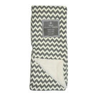 "Cream and Gray Reversible Sherpa Plush Fleece Throw Blanket: Chevron Design, Soft and Plush, 50"" x 60"""