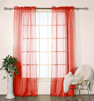 "Set of Two (2) Red Sheer Window Curtain Panels: Satin Stripe, 76""W x 84""L"