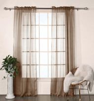 "Set of Two (2) Brown Sheer Window Curtain Panels: Satin Stripe, 76""W x 84""L"
