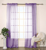 "Set of Two (2) Purple Sheer Window Curtain Panels: Satin Stripe, 76""W x 84""L"
