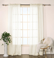 "Set of Two (2) Beige Sheer Window Curtain Panels: Satin Stripe, 76""W x 84""L"