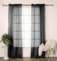 "Set of Two (2) Black Sheer Window Curtain Panels: Satin Stripe, 76""W x 84""L"