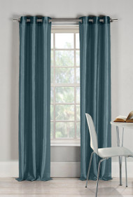 "Two (2) Blue Window Curtain Panels: Faux Silk, Silver Grommets, 76"" x 84"""