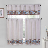 Cotton Blend 3 Piece Kitchen/Cafe Tier Window Curtain Set: Blue and Brown Coffee Check Design