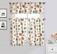 Cotton Blend 3 Piece Kitchen/Cafe Tier Window Curtain Set: Green, Brown and Cinnamon Coffee Cup Design