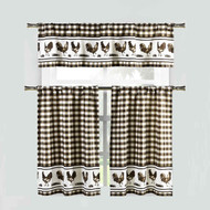 Brown 3 Piece Window Curtain Set: Gingham Check and Rooster Design