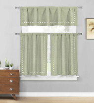 Sage 3 Pc. Kitchen/Cafe Tier Window Curtain Set: Solid Color with stars cut-out Pattern