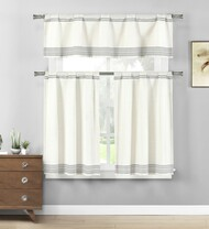 Gray 3 Pc. Cotton Rich Kitchen/Cafe Tier Window Curtain Set: Off-White with Stripe Pattern