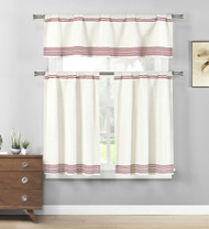 Burgundy 3 Pc. Cotton Rich Kitchen/Cafe Tier Curtain Set: Off-White, Stripe Pattern
