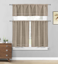 Linen 3 Pc. Kitchen/Cafe Tier Window Curtain Set: Stars cut-out Pattern