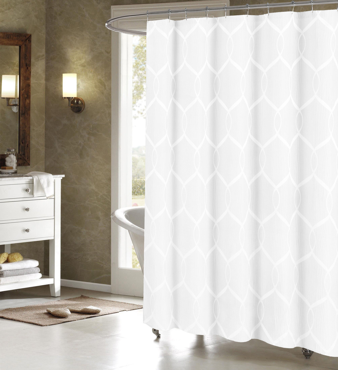 Off White Jacquard Fabric Shower Curtain Whitetrellis Design 70 X 72
