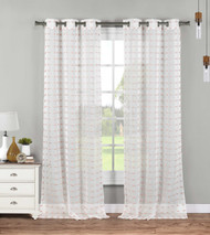 Set of Two (2) Sheer Grommet Window Curtain Panels: White with Blush Tufts, 76W x 84L