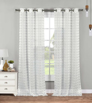Set of Two (2) Sheer Grommet Window Curtain Panels: White with Gray Tufts, 76W x 84L
