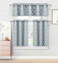 3 Piece Kitchen/Cafe Tier Window Curtain Set: Moroccan Trellis/Tile Design (Denim Navy)