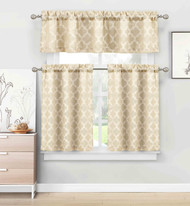 3 Piece Kitchen/Cafe Tier Window Curtain Set: Moroccan Trellis/Tile Design (Gold Taupe)