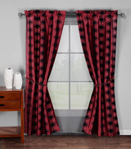 "5 Pc. Window Curtain Set: Burgundy and Black Moroccan Tile Design, 2 Panels, 1 Sheers, 2 Tie Backs, 74""W x 84""L (Burgundy and Black)"